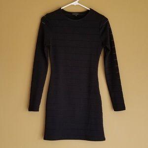 TOPSHOP Black Long Sleeve Dress Sheer Stripes